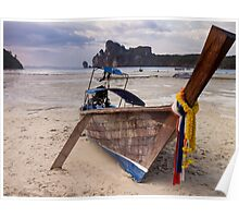 Stranded Long-Tail Boat on Koh Phi Phi, Thailand Poster
