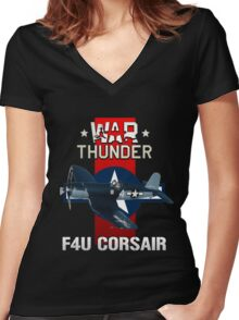 War Thunder F4U Corsair Women's Fitted V-Neck T-Shirt