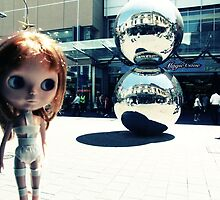'Leeloo' in front of the 'Malls Balls' by Jodi Coyle