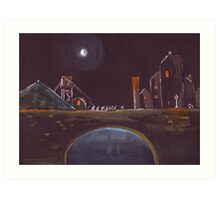 Blue Moon Over Bridge Art Print