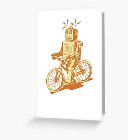 robot on fixie Greeting Card