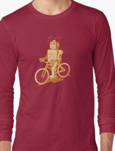 robot on fixie Long Sleeve T-Shirt