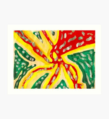 Green, Yellow, and Red Abstract Art Print