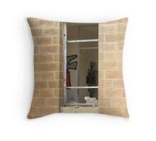 Malta Ruins looking through the window Throw Pillow