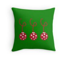 Three Christmas baubles decoration Throw Pillow