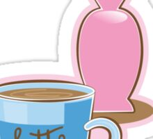 Latte coffee cups and flowers Sticker
