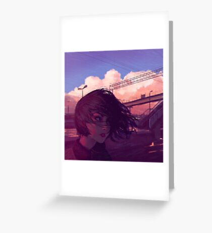 Sunset Railroad Greeting Card