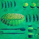 Peas with Bowls by Julie Nicholls