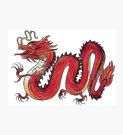 Oriental Red Dragon Photographic Print