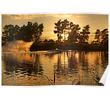 Ski around sunset - Lake Kaiafas Poster