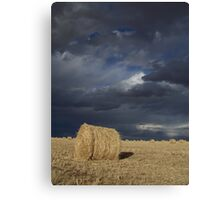 Storm Clouds and Round Bales Canvas Print