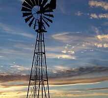 Windmill at Sunset by amandameans
