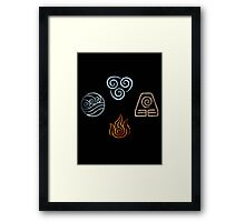 The four Elements Avatar symbols Framed Print
