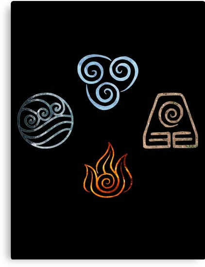 the four elements avatar symbols canvas prints by ellen kapelle redbubble. Black Bedroom Furniture Sets. Home Design Ideas