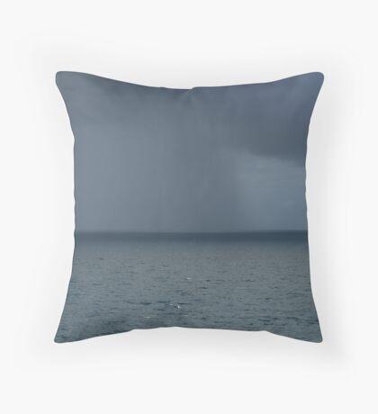 Rain Storm at Sea Throw Pillow