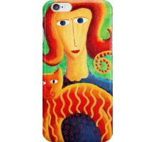 Woman with a Cat iPhone Case/Skin