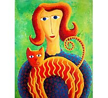 Woman with a Cat Photographic Print