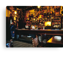 English Pub at Christmas-time, UK. 1980s Canvas Print