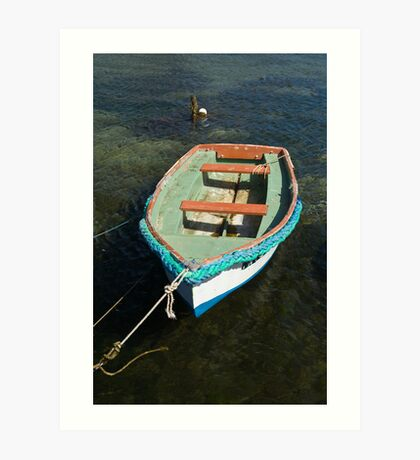Small boat on water Art Print