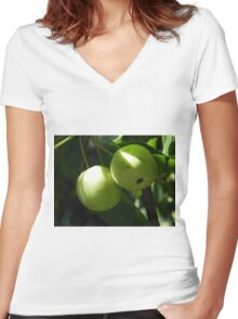 Crab Apples Women's Fitted V-Neck T-Shirt