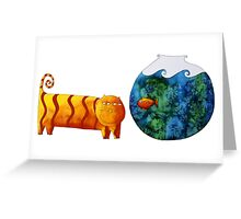 Cat and Goldfish Greeting Card