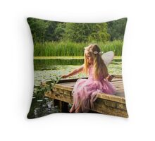 Fairy by the lake Throw Pillow