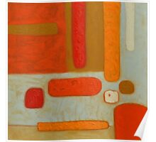 Primitive Abstract Shapes, Orange, Brown and Yellow Poster
