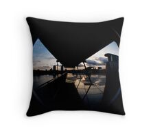Sunset Over Glass and Architecture Throw Pillow