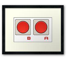 A B Buttons, NES controller pad. Framed Print