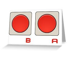 A B Buttons, NES controller pad. Greeting Card