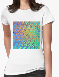 Color Pattern of Abstract Blue and Lilac Womens Fitted T-Shirt