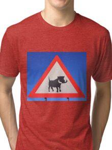 Warthog Warning Sign - Hogs About Tri-blend T-Shirt