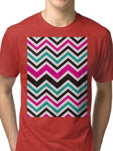 Retro Zig Zag Chevron Pattern Tri-blend T-Shirt