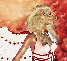 Valentine background with cupid 3 by AnnArtshock