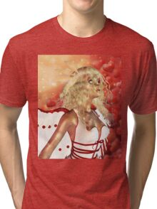 Valentine background with cupid 3 Tri-blend T-Shirt
