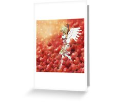 Valentine background with cupid 4 Greeting Card