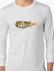 antique typographic vintage puffer fish Long Sleeve T-Shirt
