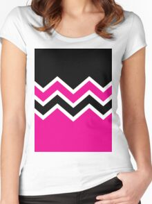 Retro Zig Zag Chevron Pattern Women's Fitted Scoop T-Shirt