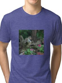 SQUIRREL AMONG THE FLOWERS Tri-blend T-Shirt