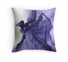 Purple Iris Petal Macro Photography Throw Pillow