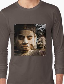 Buddhist Statues: Deva at Angkor, Cambodia Long Sleeve T-Shirt