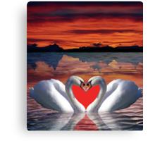 Valentine sunset swans Canvas Print
