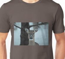 Winter deer in the snow and frost. Unisex T-Shirt