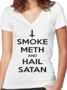 Smoke Meth & Hail Satan Women's Fitted V-Neck T-Shirt