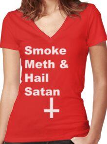 Smoke Meth & Hail Satan 2.0 Women's Fitted V-Neck T-Shirt