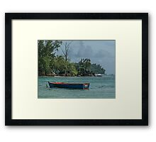 Seychelles Simple Rowing Boat Exotic Location Framed Print