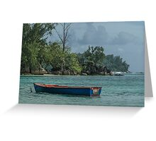 Seychelles Simple Rowing Boat Exotic Location Greeting Card