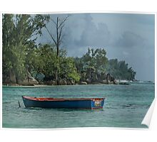 Seychelles Simple Rowing Boat Exotic Location Poster