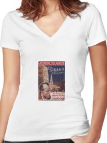 Sherlock Holmes  - The Strand Magazine Cover - Vintage Print Women's Fitted V-Neck T-Shirt