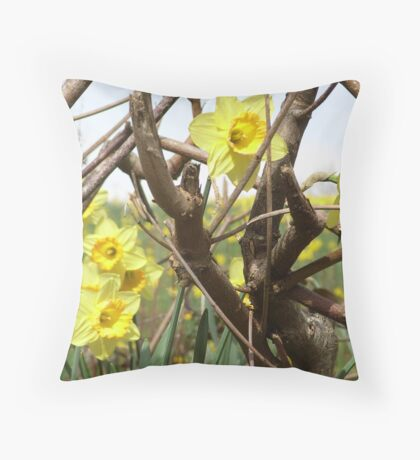 Daffodils in Cornwall Throw Pillow
